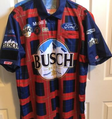 2019 KEVIN HARVICK BUSCH Flannel Talladega Nascar Race Used Pit Crew Shirt M