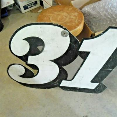 NASCAR RACE USED VINTAGE PIT BOARD BOBBY HILLIN JR ALUMINUM 31 WINSTON CUP