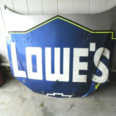 NASCAR RACE USED JIMMIE JOHNSON SHEETMETAL LOWES HOOD STILL HAS RACE RUBBER