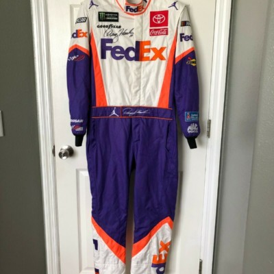 Denny Hamlin NASCAR Race Used Worn Drivers Fire Suit Nike Jordan FedEx JGR