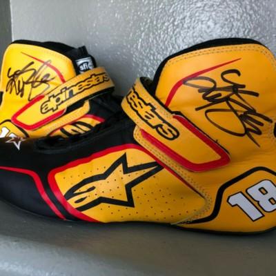 Kyle Busch Autographed NASCAR Racing Driving Shoes Alpinestars