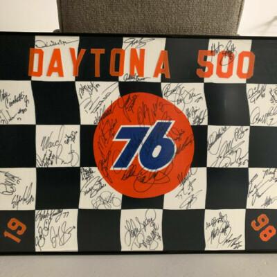 NASCAR Daytona 500 Autographed Checkered Flag 1998 & 2001