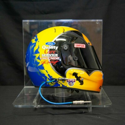 1998 Dale Jarrett Batman/Ford Quality Care race used helmet with display case