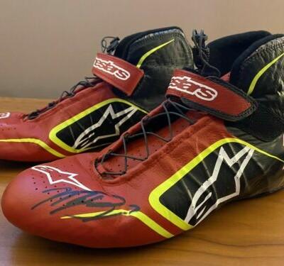 Martin Truex Jr Race Worn winning shoes autographed with Diecast